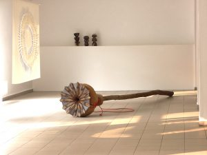 """Jost Loeber """"Poppy"""" Skulptur aus Holz und Stahl"""