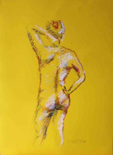 gelbe Aktzeichnung