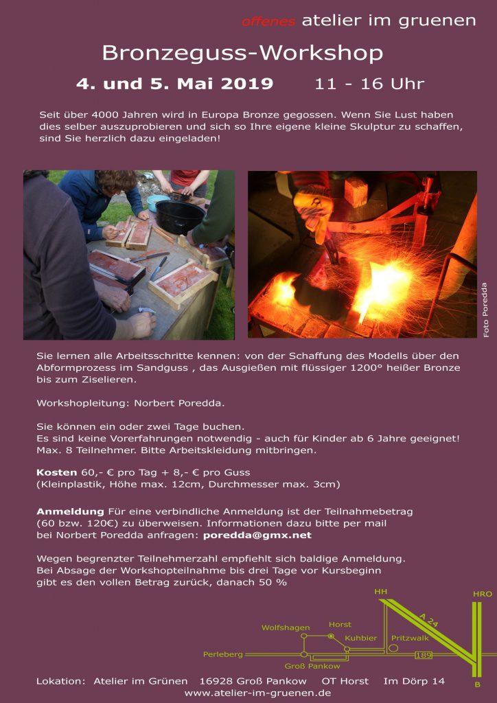 Bronzeguss workshop im Atelier im Grünen bei Katja Martin und Jost Löber
